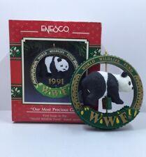Vintage 1991 Enesco Christmas Ornament Wwf Panda Our Precious Gift