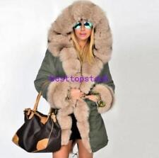 Women's winter Real fur coat Long Fox fur jacket Parka warm Genuine Fur coat wi