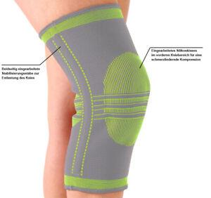 Orthopädische KNIEBANDAGE mit SILIKONKISSEN Gr. S - L Kniestütze Strumpf Bandage