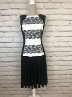 Joseph Ribkoff Black White Patterned Sleeveless Occasion Party Dress UK 12 US 10