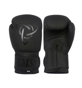 TMS Boxing Gloves Leather Pro MMArt Training Sparring Punch Bag kickboxing Black
