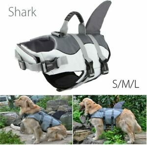 L.D. Dog Dog Life Jacket - Cute Shark Fin Lifeguard Support Swimming, M, Gray