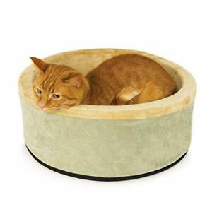 K&H PET PRODUCTS Thermo-Kitty Bed Sage/Tan Small 16 Inches