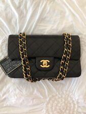 VINTAGE CHANEL Classic Rectangle Black Double Flap Bag Gold HW