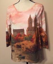 ARTSCAPES Women's Warm Colors Sz L Top Blouse Cotton Shirt
