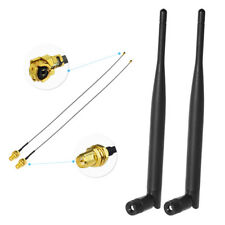 2pcs 6dBi 2.4GHz 5GHz Dual Band WiFi RP-SMA Antenna +2x 7.87in U. fl/IPEX cable