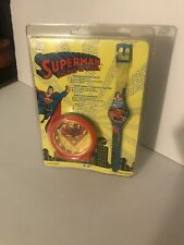 Vintage 1994 Superman Man Of Steel Collectible Watch And Clock Set NIB