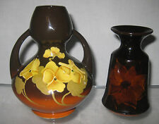 TWO HANDPAINTED ART POTTERY VASES REDWOOD AND DUNSTER