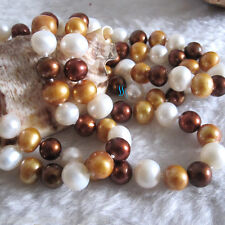 """Aa Freshwater Pearl Necklace 34"""" 8-10mm White Champagne Coffee"""