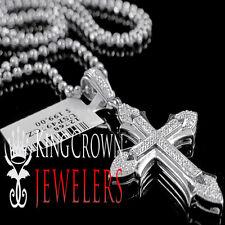 HOT Mini Real 10K White Gold On Silver Simu Diamond Cross Pendant Charm + Chain