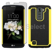 Hybrid Rubber Case+LCD Screen Protector for Android Phone LG K7/Tribute 5 Yellow