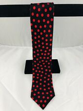"Brioni Tie Handmade Silk Black With Red Polka Dots 4"" Mint"