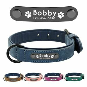 Leather Dog Collar Personalized Custom Name Tags For Small Medium Large Dogs