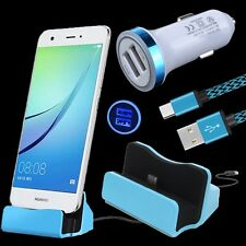 USB C Dock + Car Charger + Cable for ZTE Zmax Pro Z981 Grand X 3 4 Max 2 Axon 7