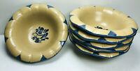 "Pfaltzgraff Folk Art Flower Shape Soup Cereal Bowl SET 6 Bird Petals  6 1/2"" Dia"