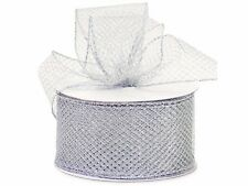 """Wired Edge Silver Mesh Ribbon 2-3/4""""x25 yds"""