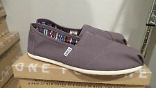 NEW WOMEN TOMS SIZE 6 SLIP ON CLASSIC ASH CANVAS FLATS OXFORD ASH GREY NIB nice