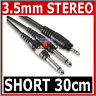 """HIGH QUALITY 3.5mm Mini STEREO Jack to 2x 6.35mm 1/4"""" MONO Male Plugs Cable 30cm"""