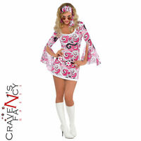 Ladies 60s Hippy Costume Ivana Gogo Adult 1960s Fancy Dress Hippie Outfit New