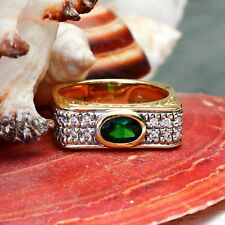18k Y&W Gold Designer Michael Valitutti Tourmaline/Diamond Ring Sz 8