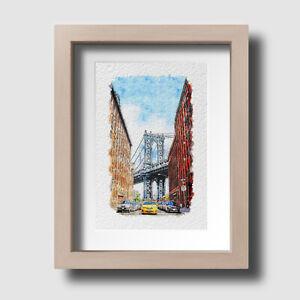 New York Manhattan Summer Day Bridge Watercolour Wall Art Print Picture Unframed