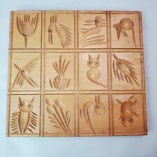 "Vintage Nayco Springerle Cookie Board 6""x 6 1/2"" Birds Animals Fish Wood Recipe"