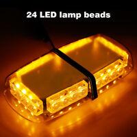24LED Strobe Light Bar Roof Top Emergency Hazard Flash Warning Lamp Yellow/Amber
