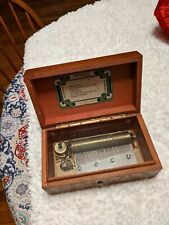 Beautiful Finish Vintage Wood Music Box By Thorens 6 Songs Made In.#32.