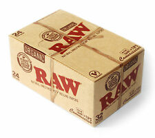 1 box - RAW CONNOISSEUR size 1 1/4 Unrefined ORGANIC Hemp Rolling papers + TIPS