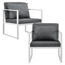 Casa.pro 2x Silla de Jardín Sillón Blanco - Gris Exterior Jardín Lounge Sillón