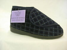 Mens Gents Bootee Slipper Velcroish  Washable Wide Fit Adjustable Care Home OAP