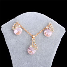18k Gold Plated Pink Crystal Butterfly Necklace+Earrings Charm Jewelry Set