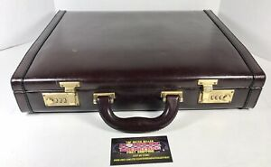 Vintage Maroon Leather Double Combination Lock Briefcase 16x13x4 Used Nice