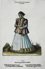 Jost Amman Tracht Meissen Bürgerin  seltener alter kolorierter Holzschnitt 1577