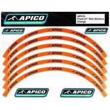 APICO TRIALS BIKE WHEEL RIM STICKER DECALS. TOP QUALITY. **ORANGE** FRONT & REAR