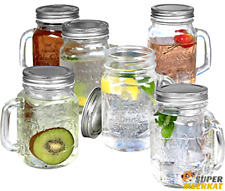 6pk Mason Jar Mugs Drinking Jars Mug With Handles Lids Gl Set Drink Kitchen