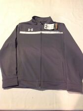 Boys Youth Under Armour Team Athletic Track Sport Jacket Gray Large NWT