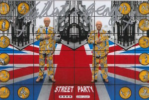 GILBERT AND GEORGE HAND SIGNED 6X4 PHOTO STREET PARTY.