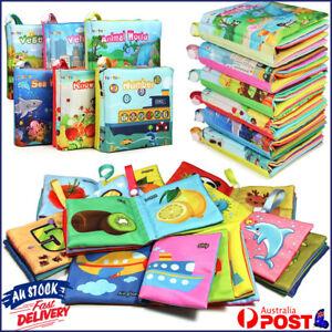 6pcs Soft Cloth Book Baby Kids Children Early Educational Cartoon Book Toys AU