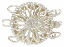 Sterling Silver .925 Round Filigree 3 Strand Box Clasp. 12mm. 1 Piece ~3574~