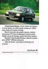 PUBLICITE ADVERTISING  1980   OPEL KADETT 1300S