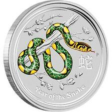 Perth Mint Australia 2013 Snake Green Colored 1 oz .999 Silver Coin