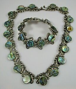 Mexico Taxco Signed Sterling Silver Necklace & Bracelet Vintage Abalone 63.5g