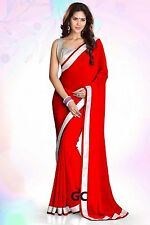 Red Bollywood Chiffon Plain Silver Border Party Wear Saree Sari Belly Dance JUPE