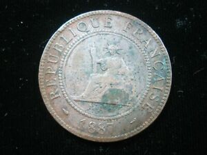 FRENCH INDOCHINA 1 CENTIME 1887 VIETNAM LAOS CAMBODIA NICE 3846# COIN