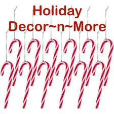 12 Candy Cane Twist Christmas Ornament Red Holiday Decoration Craft Plastic