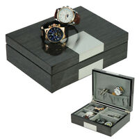 Watch Cufflink Wood Display Box Jewelry Case Storage Collector - 2272WE