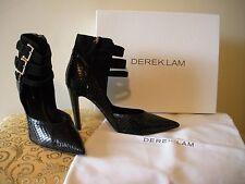 OH MY MY~!!! NIB $895 DEREK LAM Black Gladiator Suede Leather Snake Shoes 8.5M