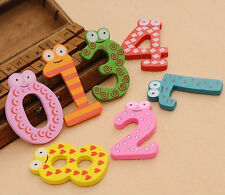 Newly 10pcs Lovely Number 0-9 Wooden Alphabet Fridge Magnet Kids Educational Toy