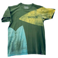 Hurley Mens Graphic T-Shirt Green Yellow Colorblock 100% Cotton Short Sleeves M